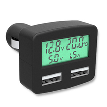 DC 5V Dual USB Ports Car Phone Charger with Temperature Display