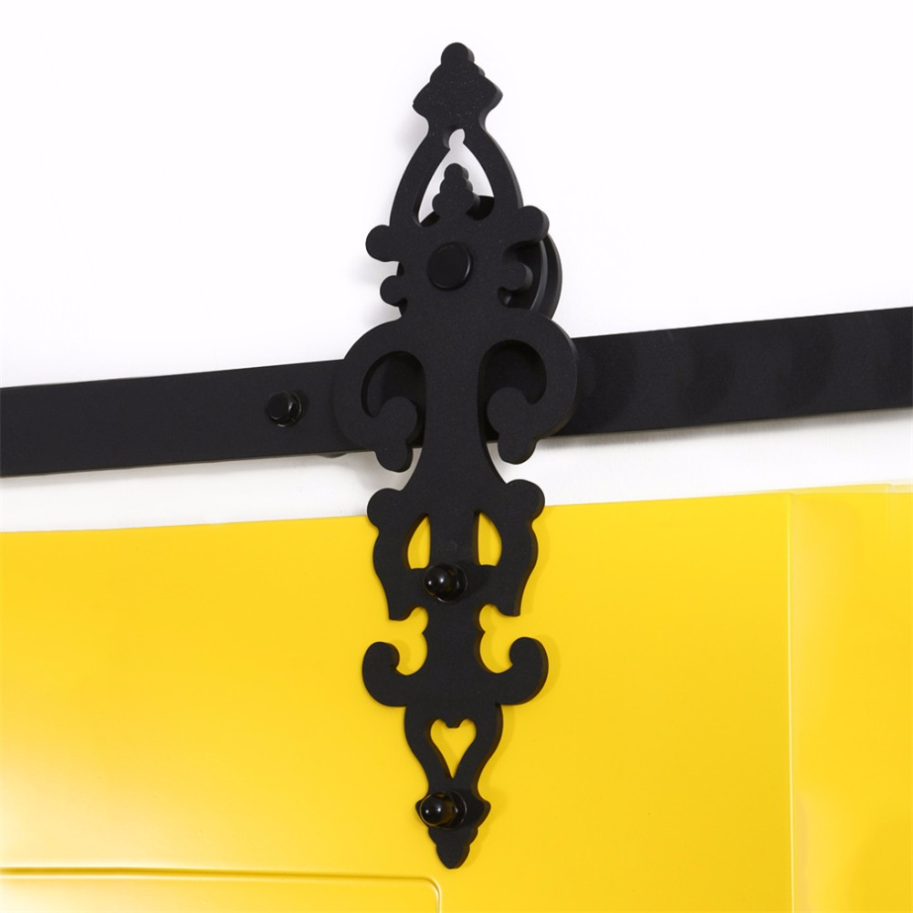 LWZH 16ft/17ft/18ft/19ft/20ft Sliding Barn Wood Door Hardware Steel Black Barn Door Interior Hardware Track Sets for Single Door