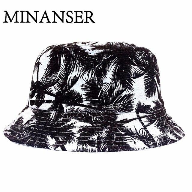 b34d34a548e MinanSer Black Coconut Tree Printed Hats Women Panama Bucket Reverse  Harajuku Cap Men s Hawii weed Bucket