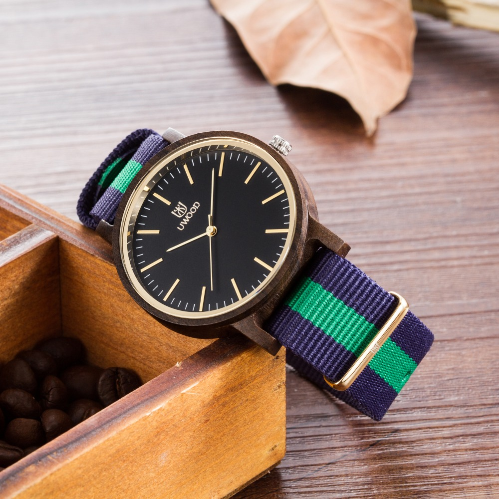 2018 New Wooden Watch Natural Bamboo Wooden Casual Wristwatch With Fashion Cowhide Nylon Band Wood Watches for Men and Women 2016 natural bamboo wood wristwatch japan quartz movement 2035 army nylon fabric strap new fashion wood watch with nylon band