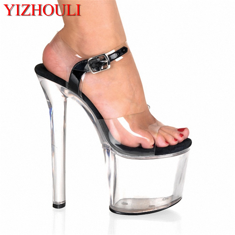Classic 20CM Open Toe Sandals Super High Heel Platforms Pole Dance/Performance/Star/Model Shoes, Wedding Shoes 15cm sexy super high heel platforms pole dance performance star model shoes wedding shoes crystal shoes