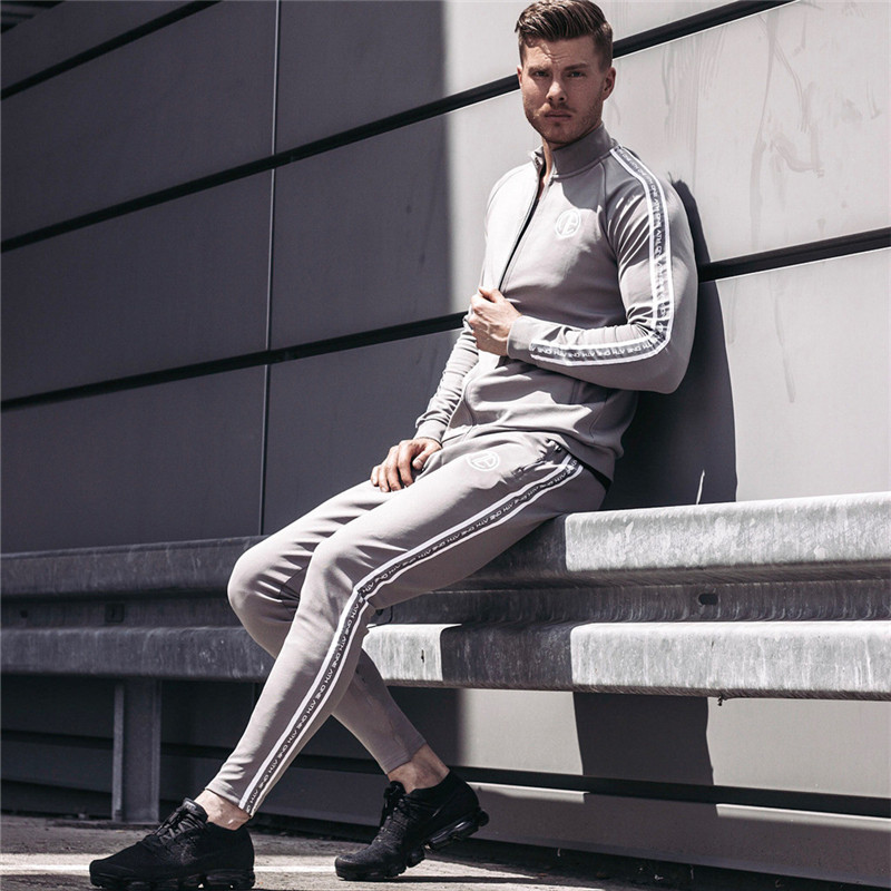 2019 Sport Suit Men Bodybuilding Jacket Pants Sports Suits Basketball Tights Clothes Gym Fitness Running Set Men Tracksuits 3XL-in Men's Sets from Men's Clothing    2