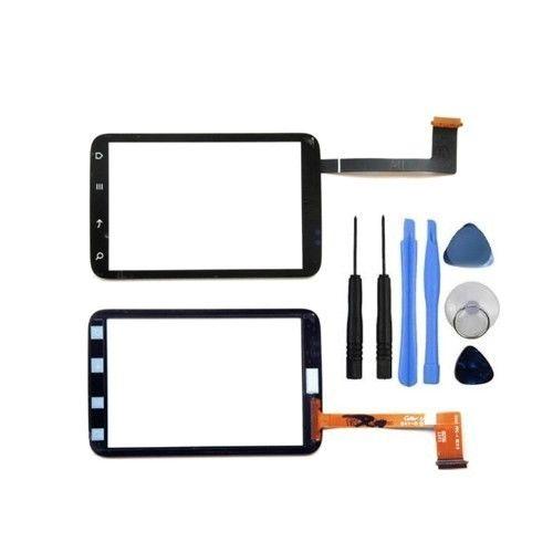 Panel Kaca Luar Penggantian Hitam untuk HTC Wildfire S G13 A510E Sentuh Layar Digitizer (Bebas + 3 M Tape + Membuka Alat Perbaikan + Lem)