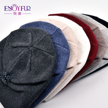 Cashmere Wool Knitted Hat with Rhinestone Design