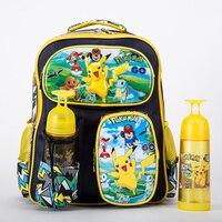 Gaan Monster Pikachu Jongens Meisjes Schooltas Boek Rugzak Mochila Gift Terug naar School Cartoon Kinderen Met Fles