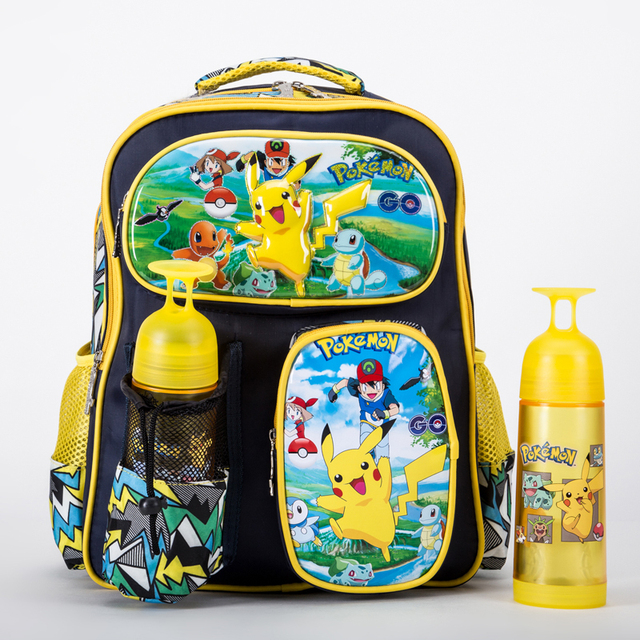 468496255530 Go Monster Pikachu Boys Girls School Bag Book Bag Backpack Mochila Gift  Back to School Cartoon