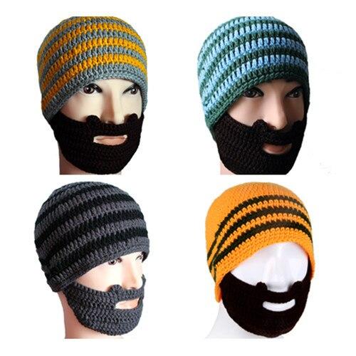 Novelty Winter Warm Knit Hat Crochet Beard Beanie Mustache Face Mask Ski  Snowboard Balaclava 5ed43251f2f