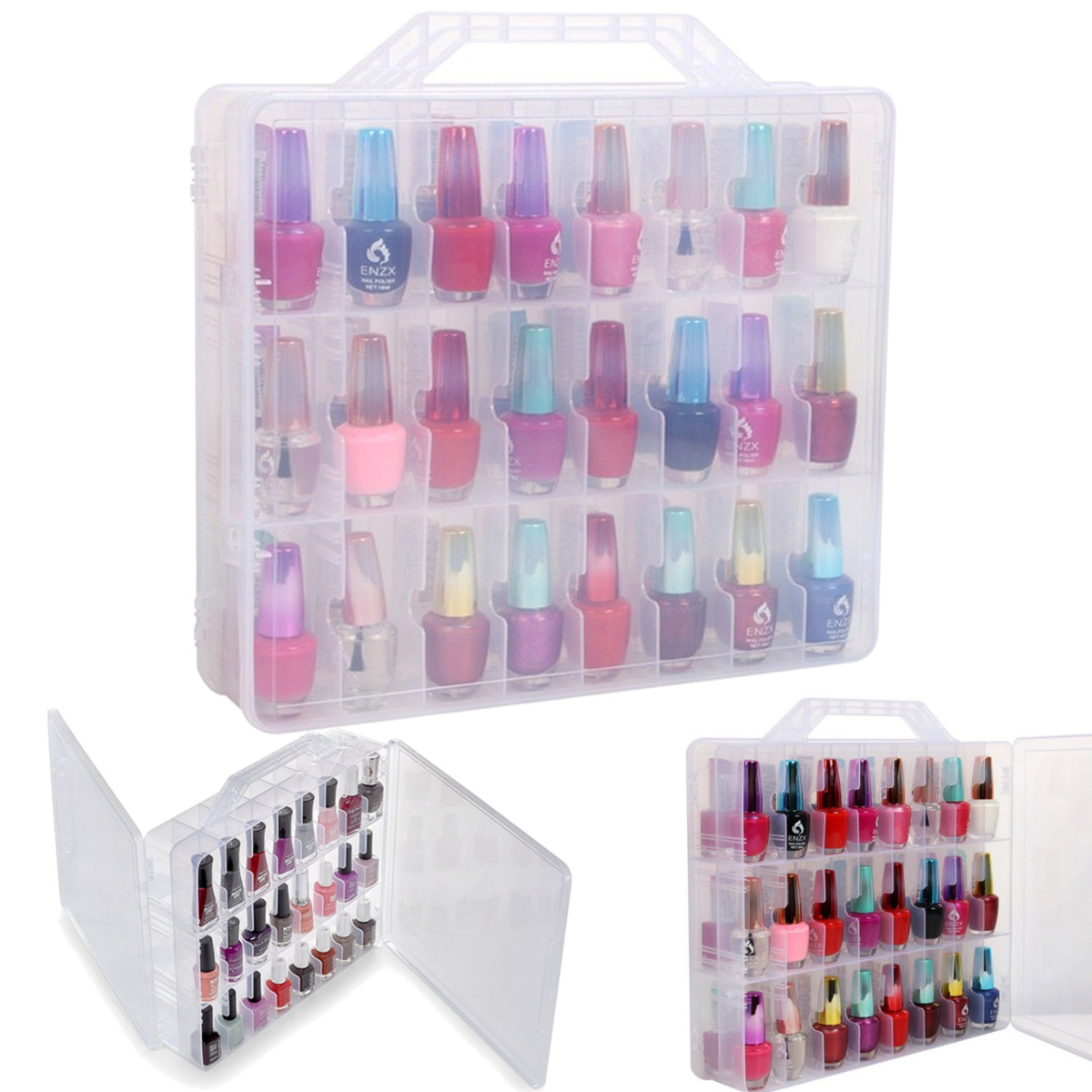 Pro 48 Lattice Nail Polish Holder Display Container Organizer Storage Box Case Art Tools Showing