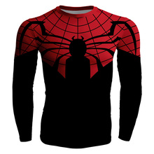 2017 Summer Hi-Q Quick-dry Slim Fitness Men's T-shirt Long Sleeve Male Tees Comic Black Red Spider-Man Superman Batman Prints
