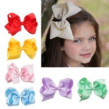 цена на 6 Inch Big Grosgrain Ribbon Solid Hair Bows With Clips Girls Kids Hair Clips Headwear Boutique Hair Accessories