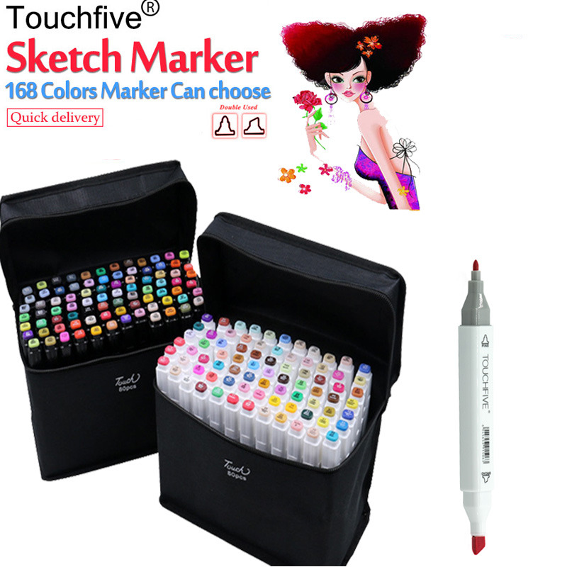 Touchfive 168 Colors Pen Marker Set Dual Head Sketch Markers Brush Pen For Draw Manga Animation Design Art Supplies sketch marker pen 218 colors dual head sketch markers set for school student drawing posters design art supplies