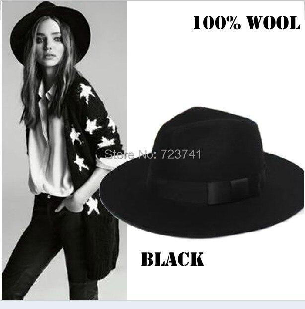 2014 Fashion Autumn Winter 100% Wool Women's Fedora hats Trilby JONES-Original felt panama Cap Size 56-58CM adjusted IN Stock