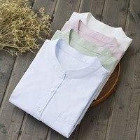 Women 's Tunic Mandarin Collar Shirts White Solid Women Blouses Button Long Sleeve Cotton Tops Fashion Ladies Shirts Art S 333