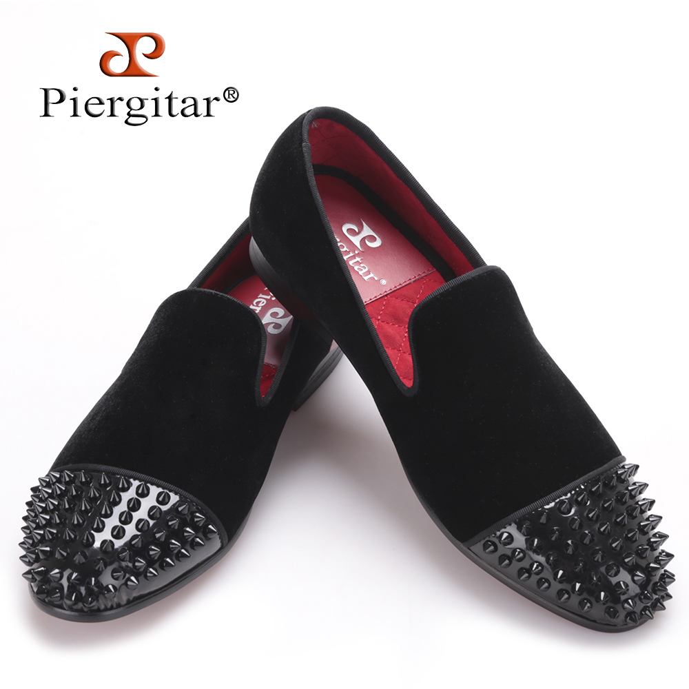 Piergitar new arrival men black velvet shoes with black Patent leather toe rivets Prom and Party men dress shoes male's loafers new arrival dreambox cow suede shoes gold and black rivets fashionable parties and banquets men s shoes european style smok