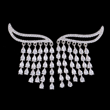 Siscathy Elegant Rain Curtain Drops Tassel Earrings Full Micro Cubic Zirconia Women Bridal Engagement Earring Jewelry Addiction