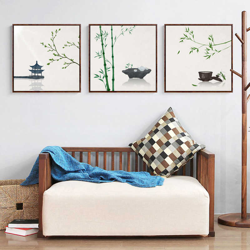 Minimalist Traditional Chinese Painting Plants Bamboo Poetry Canvas Posters Prints Home Decor Wall Art Pictures For Living Room
