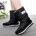2016  snow boots winter Non-slip weatherproof lady sir Muffin waterproof unisex boots Leisure Black color  for 22.5cm-28cm
