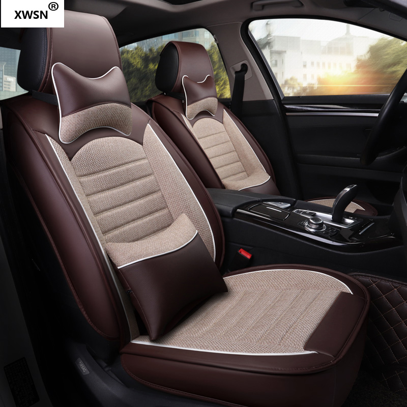 XWSN pu leather linen car seat cover for HUMMER ALL model H1 H2 H3 car styling auto accessories