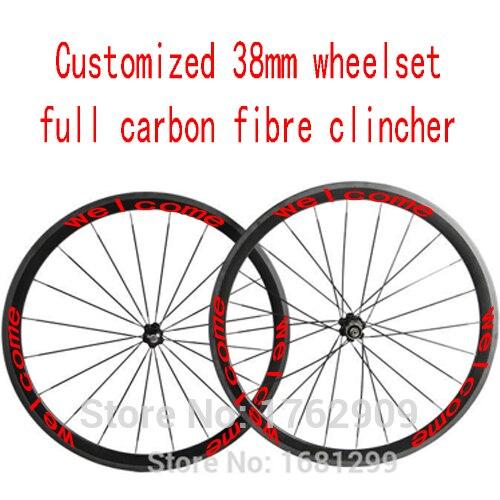 Libérez le bateau personnalisé 700C 38mm enclume jantes de bicyclette de route aero 3 K/UD/12 K full carbon fiber de vélo essieux 20.5/23/25mm largeur