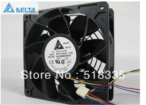 Delta QFR1212EHE 120mm 1238 12038 12cm 12*12*3.8cm 120*120*38mm fan 12v 1.5A Cooling Fan new afb1212she 12038 12cm 1 6a 12v 4wire pwm 40cm long line of fan for delta 120 120 38mm