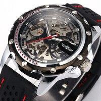 Famosa Marca de Moda de Nova relógios Mecânicos Esqueleto Relógios Homens Pulseira de Borracha Mecânico Automático do Relógio de Pulso Relogio masculino