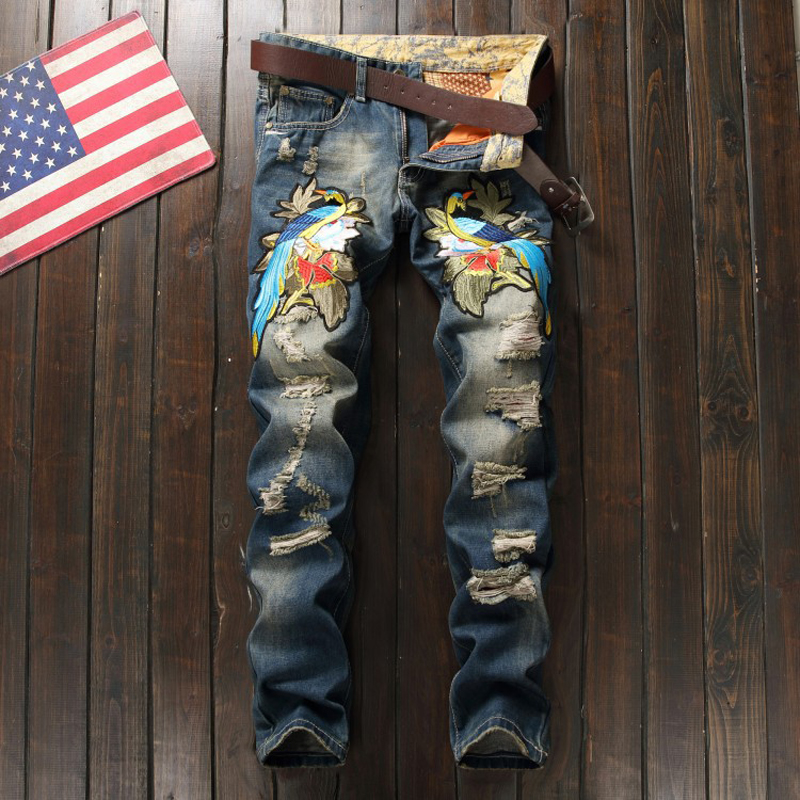 Mens Fashion Ripped Biker Jeans 100% Cotton Bird Embroidered Slim Fit Motorcycle Jeans Men Vintage Distressed Denim Jeans Pants ripped jeans men 2017 famous brand biker denim trousers slim fit vintage distressed jeans pants 100%cotton mens motorcycle jeans