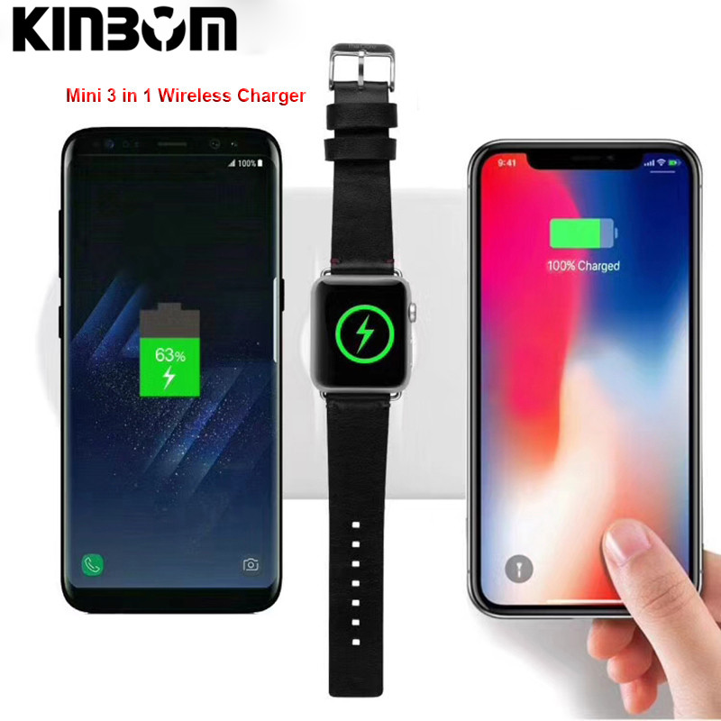 KINBOM For iPhone X 8plus 3 in 1 QI Wireless Charger For iWatch 2 3 Fast Charging Charger Pad For Samsung Note 8 S8Plus S7Edge