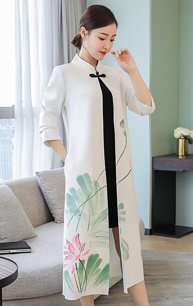 Femmes Approprié À Pour Manteau Porter White Tranchée Cardigan Vintage Les Automne D'impression hiver 2019 New Long Vêtements qfnTPUP4t