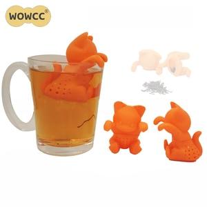 WOWCC 2018 креативный мультяшный котенок Чай Ситечко силиконовый милый кот чай заварка прекрасный оранжевый котенок силиконовые чайные инструменты