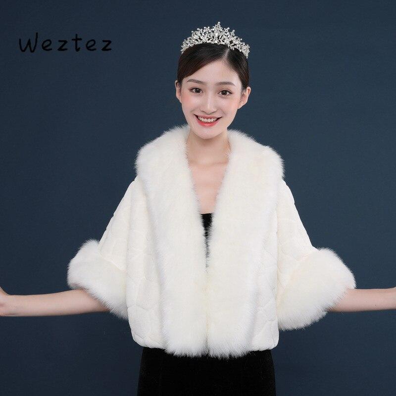 Mariée châle hiver Cape mariée fourrure châle de mariage veste Wrap nouveau mariage veste matelassée accessoires de mariage PJ52