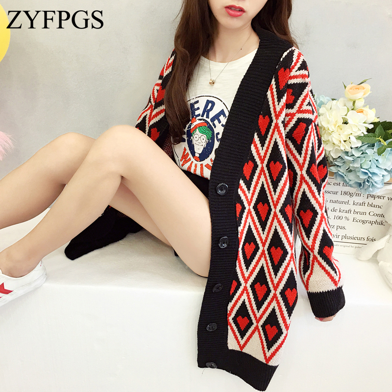 54fba027cea ZYFPGS 2018 Women Sweater Red plaid Cardigan Long Sleeve Plus Size Knitted  Cashmere Slim Black Casual Ladies Coat Thicken Z0808