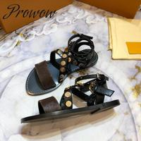 Prowow New Branded Genuine Leather Metal Studded Summer Sandals Open Toe Beach Party Flats Sandals Shoes Women