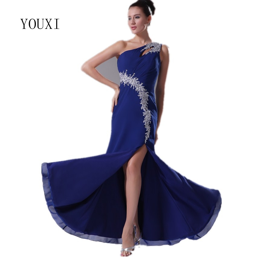 Sexy One Shoulder Royal Blue Evening Dresses 2017 New Arrivals Chiffon Appliqued Lace Sequins Side Split Floor Length Prom Gowns