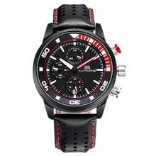 Men Analogue Chronograph Luminous Quartz Watch with Leather Band Calendar Fashion Gift for Sport Business Work jis flash light couple quartz watch with leather band