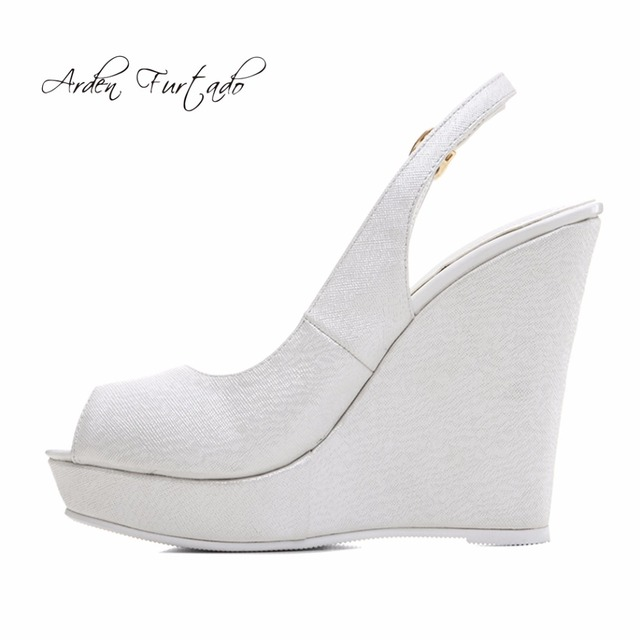 d50202599095 Arden Furtado 2018 summer style shoes for woman white wedding shoes back strap  peep toe wedges high heels 12cm platform sandals
