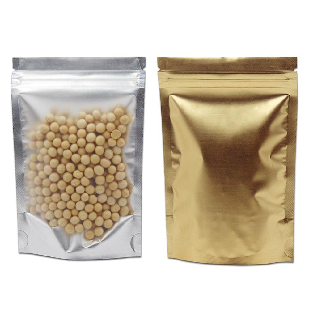 Sacs de paquet de papier d'aluminium de Mylar de serrure de fermeture éclair 6 tailles avant Transparent en plastique arrière sac d'emballage de papier d'aluminium d'or poche de stockage de nourriture