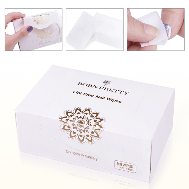 BORN PRETTY 300 Wipes Lint-Free Nail Gel Polish Remover Clean Cotton Pads Wipe Tips Manicure Nail Art Tools