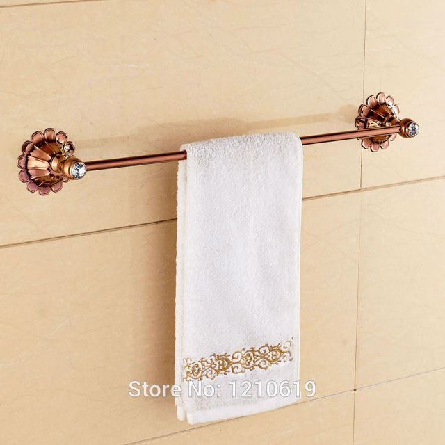 Newly Rose Gold Plate Bath Towel Bar Holder Single Tier Crystal Towel Rail Washcloth  Rack Wall