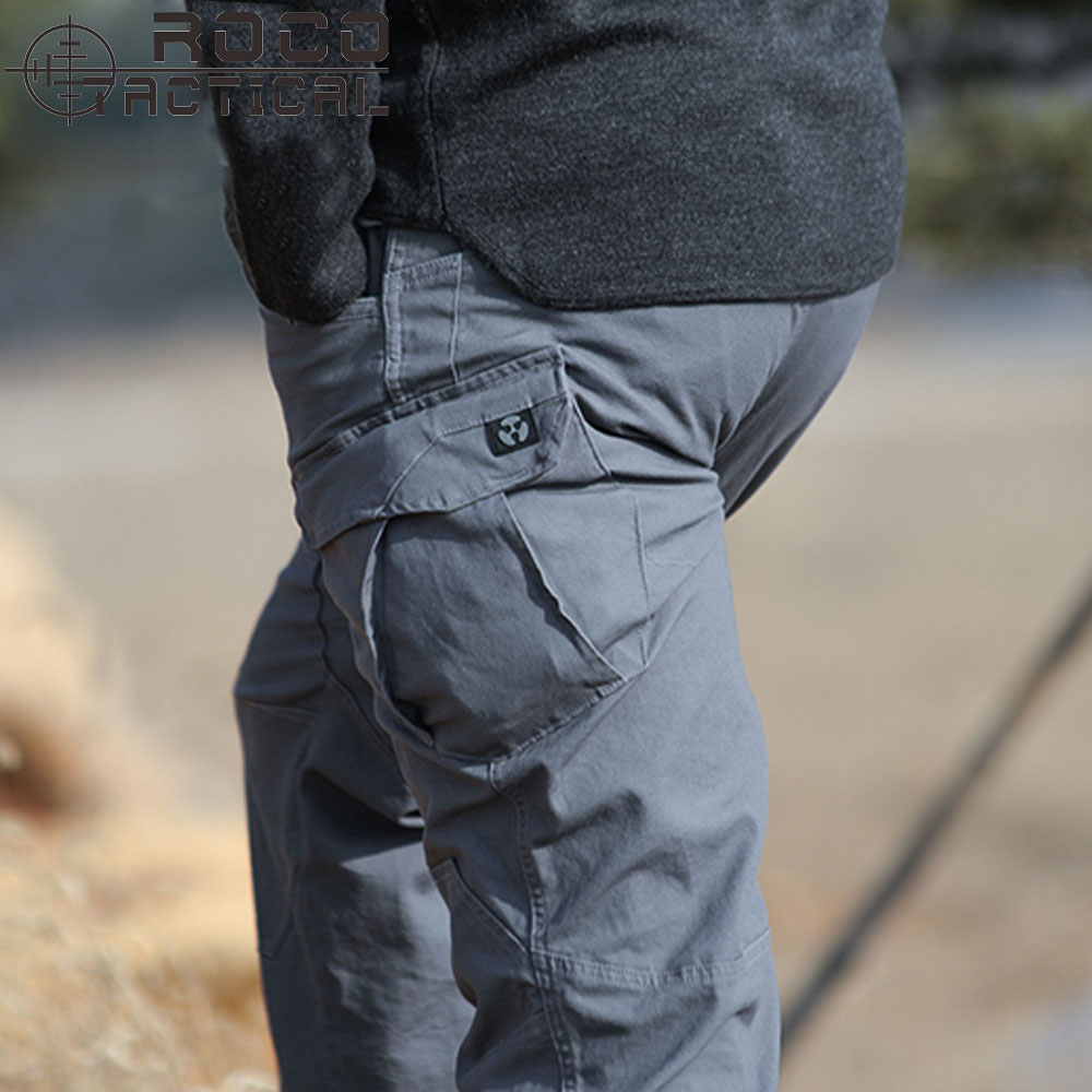 ROCOTACTICAL Mens High Quality Multi-Pockets Tactical Pants Loose Military Cargo Pants Outdoor Camping Hiking Pants outdoor loose fit straight leg multi pocket solid color zipper fly cargo pants for men