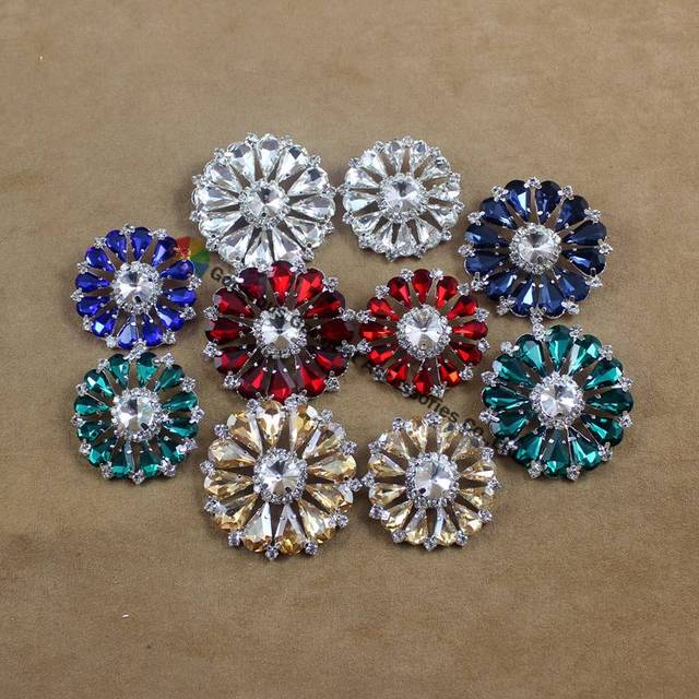 10pcs 32mm 42mm Round Rhinestone Button Clear Red Navy Royal Blue