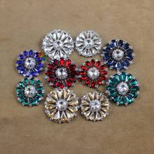 10pcs 32mm 42mm Round Rhinestone Button Clear Red Navy Royal blue Emerald  Silver Gold diy browband wedding Crystal Centerpieces 4f28c075b6e5