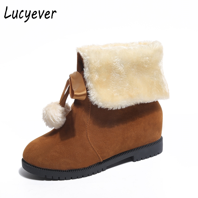 Lucyever Women Classic Faux Fur Slip on Snow Boots 2017 Winter Fashion Ball Plush Inside Keep Warm Cotton Shoes Woman Two Ways fashion keep warm winter women boots snow boots 2017 buckle cotton boots women boots shoes