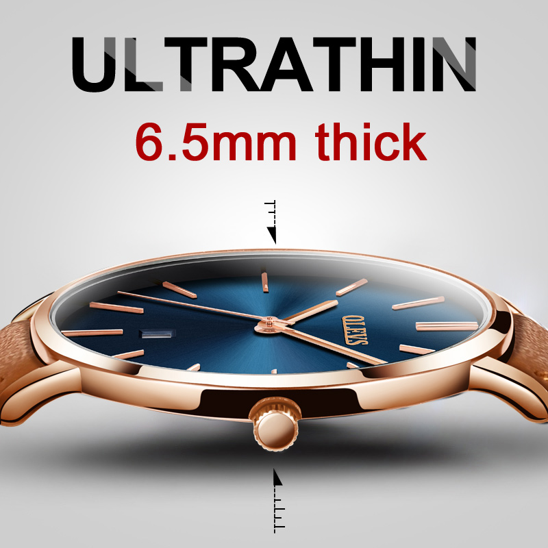 OLEVS Casual Leather Watches for Men Luxury Brand Ultra thin Quartz Calendar Watch Rose Gold Waterproof Sport Male Wrist watch