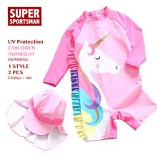 Bebé niñas unicornio traje de baño niños Arco Iris dibujos animados UV protección natación surf traje niños traje de baño ropa de baño Niño 2 piezas