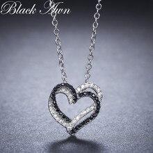 Черное серебряное ожерелье с Аун, настоящее серебряное ожерелье 925 пробы, женское ювелирное изделие, подвески с черным и белым камнем PP107