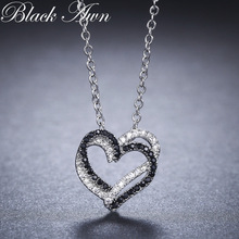 Silver Necklace Fine Genuine 100% 925 Sterling Silver Necklace Žene Nakit Heart Crno & bijeli kameni Privjesci P107