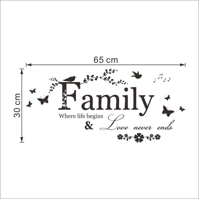 Family Love Never End Quote Vinyl Wall Decal Wall Lettering Art Words Wall Sticker Home Decor Wedding Decoration Living Room 801