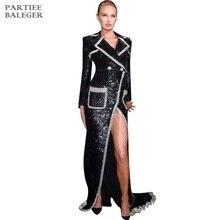 Новое поступление модное длинное пальто с пайетками с карманами и пуговицами дизайн отложной воротник с длинными рукавами знаменитости вечерние женская верхняя одежда
