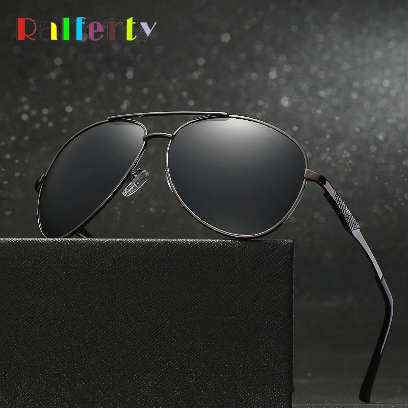 Ralferty Pilot Sunglasses Men HD Polarized Sun Glasses Black UV400 Metal Business Male Driver Sport Eyewear Accessories X1924