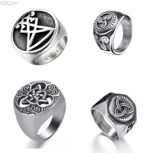 Vintage Flower Religion Rings Ireland Punk Stainless Steel Rings for Women Man Jewelry Engraving Totem Ring